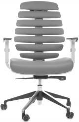 židle FISH BONES šedý plast, šedá kůže kancelárská stolička