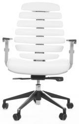 židle FISH BONES šedý plast,bílá koženka kancelárská stolička