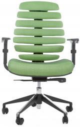 židle FISH BONES černý plast, zelená látka SH06 kancelárská stolička