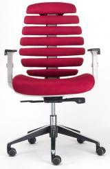 židle FISH BONES šedý plast,vínová látka TW13 kancelárská stolička
