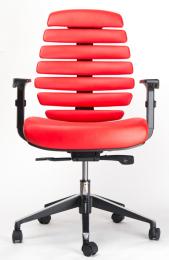 židle FISH BONES černý plast, červená kůže kancelárská stolička