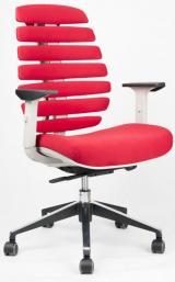 židle FISH BONES šedý plast,červená látka 26-68 kancelárská stolička