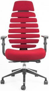 židle FISH BONES PDH černý plast, červená 26-68 kancelárská stolička