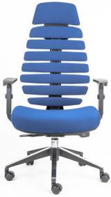 židle FISH BONES PDH černý plast, modrá 26-67 kancelárská stolička