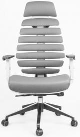 židle FISH BONES PDH šedý plast, šedá kůže kancelárská stolička