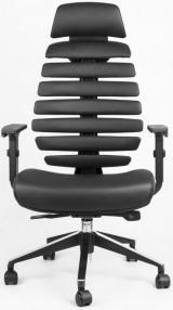 židle FISH BONES PDH černý plast, černá kůže kancelárská stolička