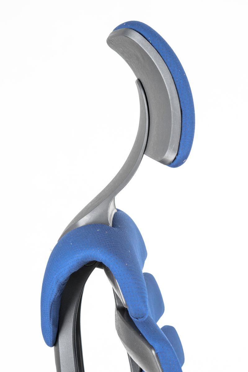 židle FISH BONES PDH šedý plast, modrá látka 26-67 kancelárská stolička
