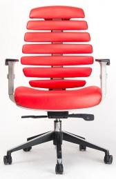 židle FISH BONES šedý plast, červená kůže, SLEVA č.80 kancelárská stolička