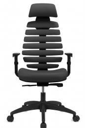 Kancelářská židle FISH BONES PDH šedý plast, šedá koženka kancelárská stolička