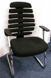 jednací židle FISH BONES MEETING černý plast, černá  látka 26-60, sleva č. SEK1066 kancelárská stolička