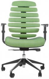 kancelárska stolička FISH BONES čierny plast, zelená látka SH06
