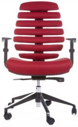 kancelárska stolička FISH BONES čierny plast, vínová látka TW13