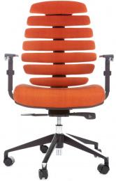 kancelárska stolička FISH BONES čierny plast,oranžová látka SH05