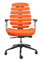 kancelárska stolička FISH BONES šedý plast, oranžová látka SH05