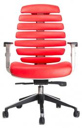 kancelárska stolička FISH BONES sivý plast, červená koža
