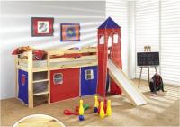 dětská vyvýšená postel 2 se skluzavkou - modročervená