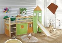 dětská vyvýšená postel 6 se skluzavkou - zelenooranžová