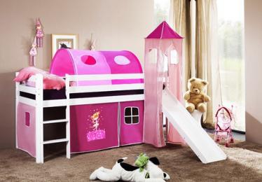 vyvýšená postel 8 se skluzavkou - růžová