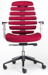 kancelárska stolička FISH BONES šedý plast,vínová látka TW13