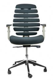 kancelárska stolička FISH BONES šedý plast, čierna látka 26-60
