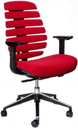 kancelárska stolička FISH BONES čierny plast, červená látka 26-68