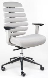 stolička FISH BONES šedý plast, světlá látka FX2054-05