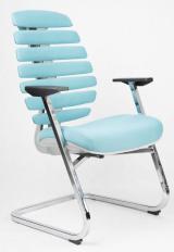 jednací židle FISH BONES šedý plast ,tyrkysová látka 26-30 kancelárská stolička