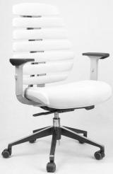 židle FISH BONES šedý plast,bílá látka TW 50F MESH kancelárská stolička