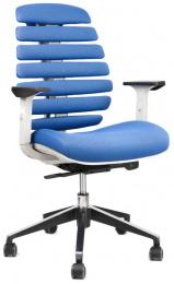 kancelárska stolička FISH BONES šedý plast, modrá látka MESH TW10