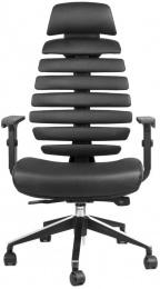 kancelárska stolička FISH BONES PDH čierny plast, čierná koženka
