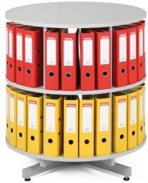 Archivační otočná skříň dvoupatrová, karusel, barva šedá