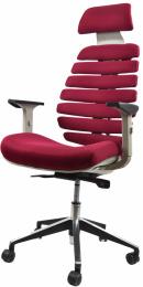 kancelárska stolička FISH BONES PDH šedý plast, vínová TW13