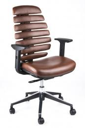 MERCURY - stolička FISH BONES čierny plast, hnědá koženka PU681405