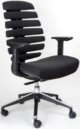 židle FISH BONES černý plast, černá látka 26-60 kancelárská stolička