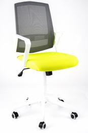 študentská stolička SUN, bílé područky, šedý operadlo, zelený sedák
