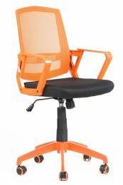 študentská stolička SUN, oranžové područky, oranžový operadlo, čierny sedák