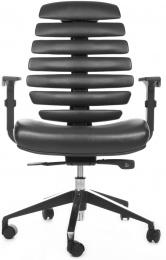 stolička FISH BONES sivý plast, čierna koženka