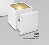 Soliterní čalouněný noční stolek se sklem a zásuvkou+ světlo NS51