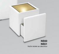 noční stolík se sklem, zásuvka, světlo NS51