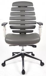 židle FISH BONES šedý plast, šedá kůže, SLEVA č.535 kancelárská stolička