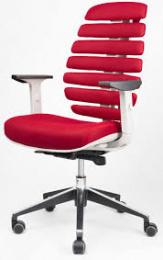 kancelárska stolička FISH BONES černý plast,červená látka TW57