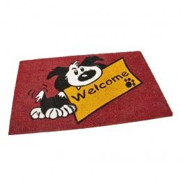 Kokosová čistící venkovní vstupní rohož Welcome - Dog 75x45