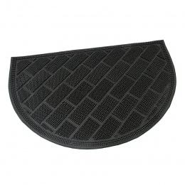 Gumová čistící kartáčová venkovní vstupní půlkruhová rohož Brick Wall 60x40