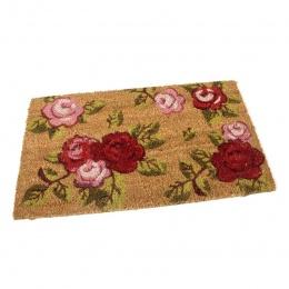 Kokosová čistící venkovní vstupní rohož Roses 60x35 cm