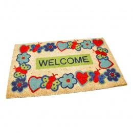 Kokosová čistící venkovní vstupní rohož Welcome - Cheerful 75x45 cm
