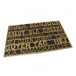 Gumová čistící venkovní vstupní rohož Multilanguage 75x45 cm