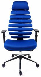 kancelárska stolička FISH BONES čierny plast, modrá látka TW10