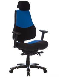 Kancelárska stolička RANGER modro-čierny pre 24hod. prevádzka
