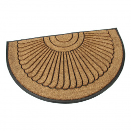 Kokosová gumová vstupní venkovní čistící půlkruhová rohož Flower, déka 120 cm, šířka 75 cm a výška 2,2 cm