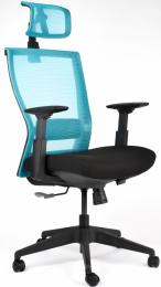 Kancelárská stolička M5 čierny plast, čierno-modrá